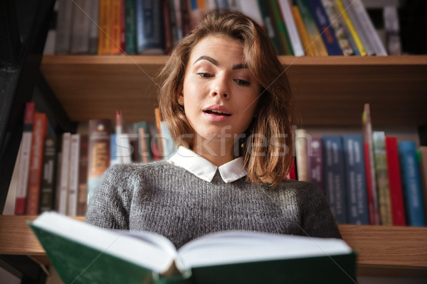 Surprised young woman reading a book at the library Stock photo © deandrobot