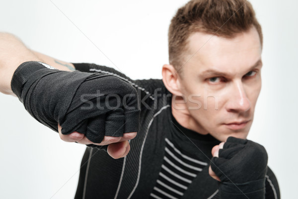 Portrait colère professionnels Homme lutteur Photo stock © deandrobot