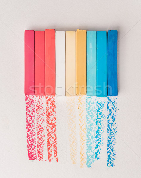 Bunch of square colorful pastel chalks and their pigments Stock photo © deandrobot