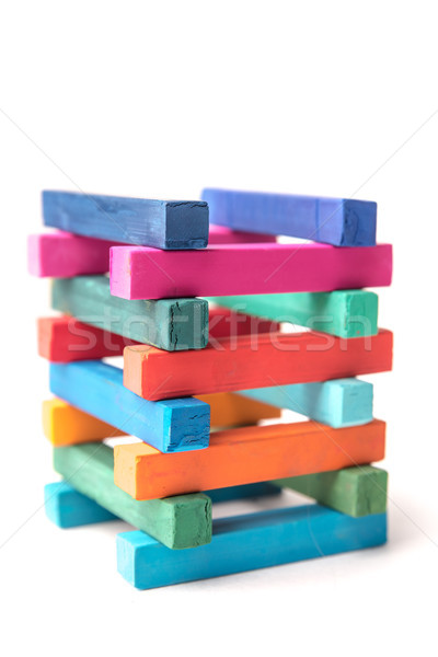 Close up of hight colorful chalks tower Stock photo © deandrobot