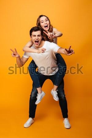 érzelmes fiatal nők kép kettő halloween jelmezek Stock fotó © deandrobot