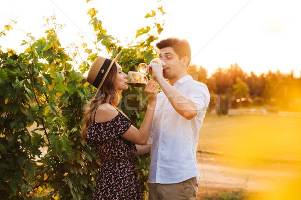 Szczęśliwy kochający para odkryty pitnej wina Zdjęcia stock © deandrobot