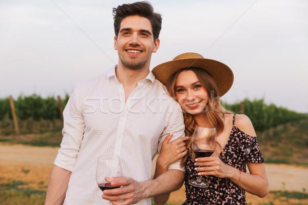 Foto stock: Amoroso · casal · ao · ar · livre · óculos · vinho