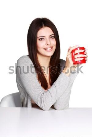 Mooie jonge vrouw beker favoriet Stockfoto © deandrobot