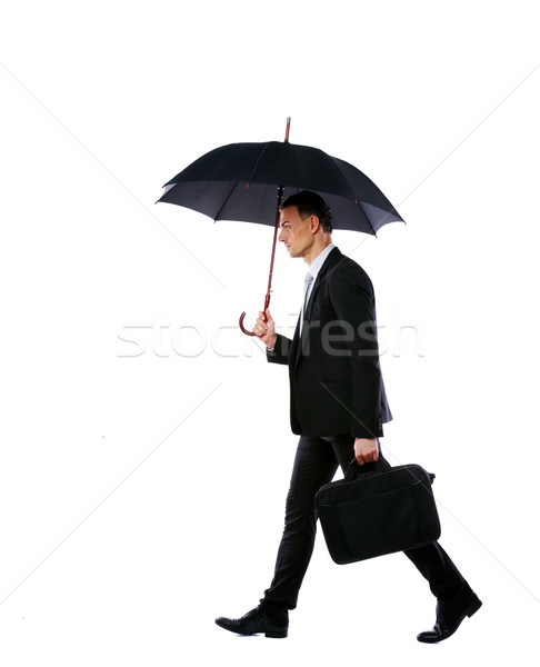 Stockfoto: Zakenman · lopen · paraplu · laptop · zak · geïsoleerd