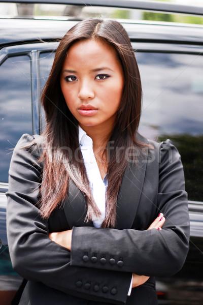 Foto stock: Jovem · belo · asiático · empresária · luxo · carro