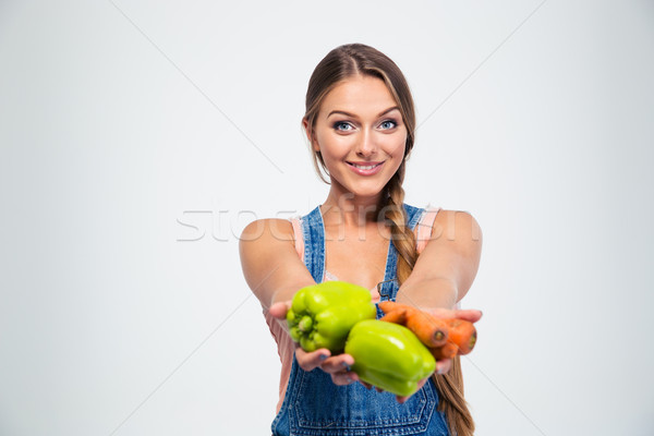 Retrato mulher atraente legumes isolado branco Foto stock © deandrobot