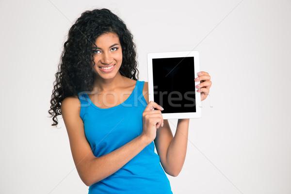 афро американский женщину экране Сток-фото © deandrobot