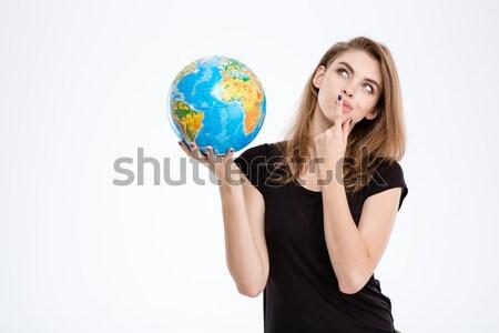 Foto stock: Feliz · mulher · globo · polegar