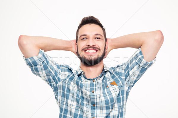 беззаботный счастливым молодые бородатый человека рук Сток-фото © deandrobot