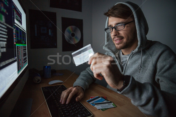 Smiling rubber making purchases paying with stolen credit card Stock photo © deandrobot