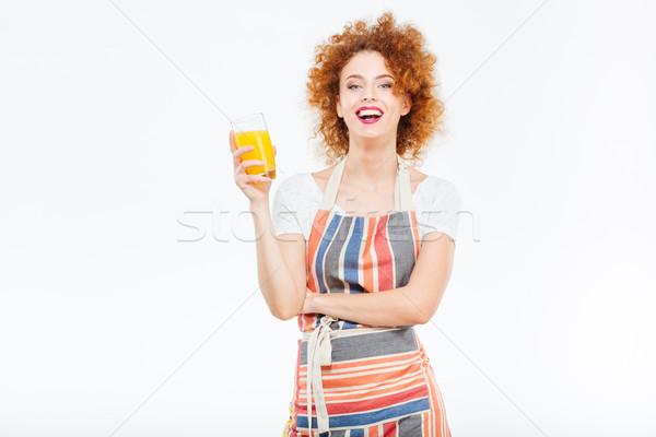 Vrouw lachend glas sinaasappelsap mooie Stockfoto © deandrobot