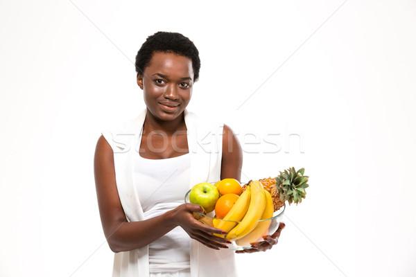 Hermosa alegre África mujer pie Foto stock © deandrobot