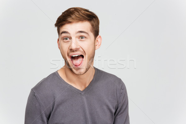 Funny amusing young man in grey pullover screaming Stock photo © deandrobot
