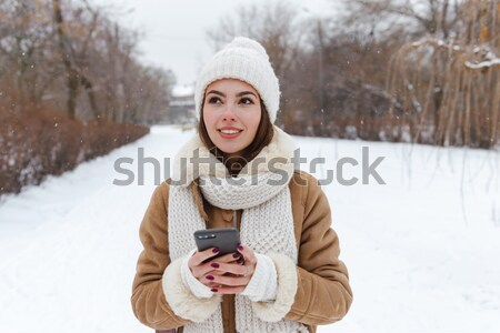 Foto d'archivio: Felice · bella · donna · foto · inverno · foresta