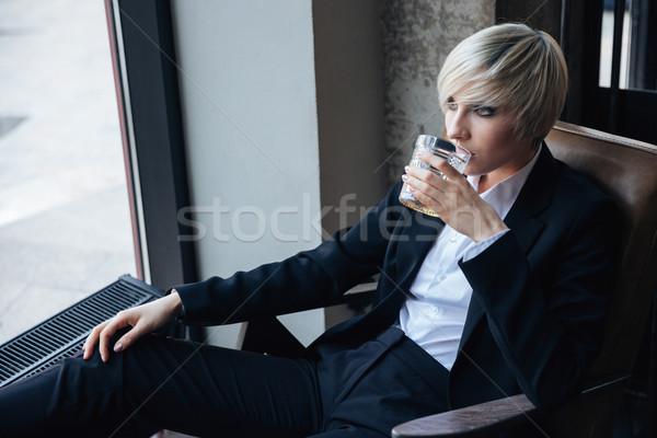 Stock fotó: Gyönyörű · elegáns · lány · iszik · megnyugtató · kávézó