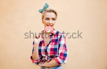 Beautiful pin up girl at the beach Stock photo © deandrobot