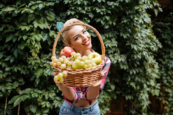 Stock photo: Smiling pin-up girl giving you basket of fresh fruits