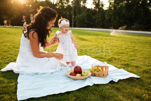 Mãe pequeno filha piquenique belo jovem Foto stock © deandrobot