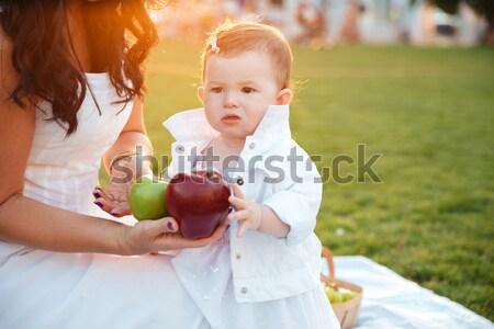 Madre frescos manzana roja pequeño hija parque Foto stock © deandrobot