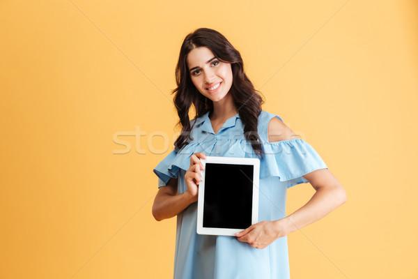 Feliz mulher jovem tela isolado Foto stock © deandrobot
