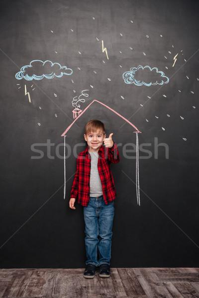 Stockfoto: Kid · huis · schoolbord · gebaar