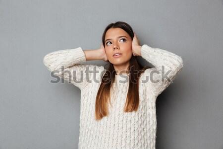Afrikai nő nem figyel fiatal elégedetlen pulóver Stock fotó © deandrobot