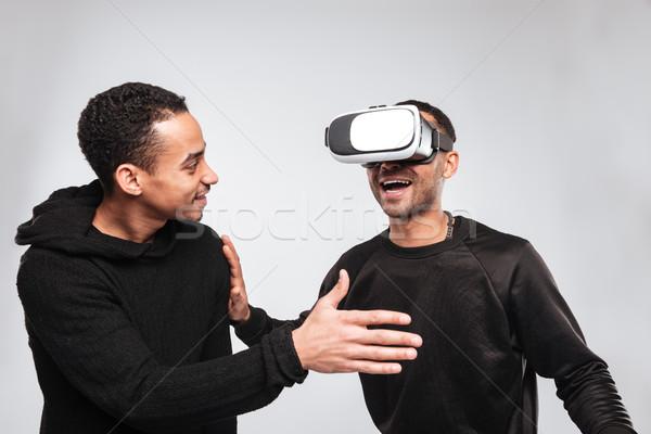 Kettő boldog afrikai fiatal férfiak 3D virtuális Stock fotó © deandrobot