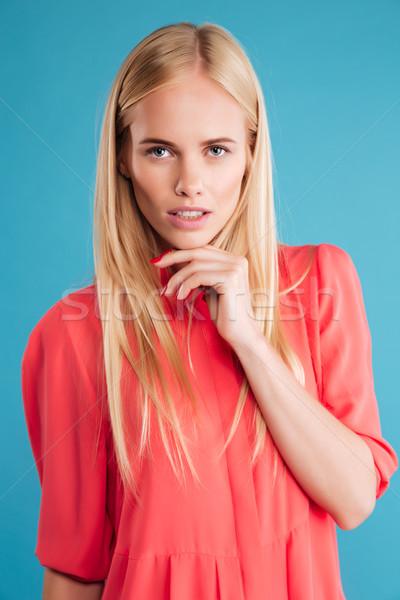 Portret peinzend nadenkend mooie meisje denken Stockfoto © deandrobot