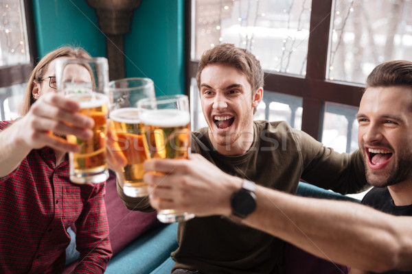Stockfoto: Gelukkig · mannen · vrienden · vergadering · cafe · drinken