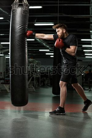 Beautiful sports lady posing in gym and looking aside. Stock photo © deandrobot