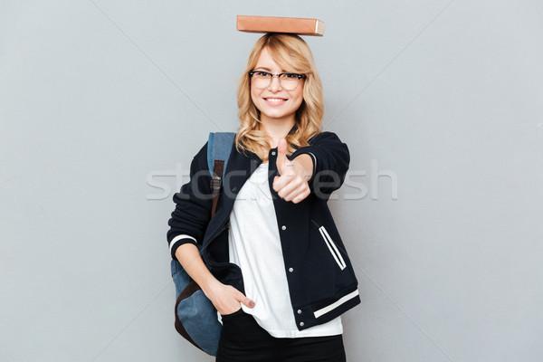 Stok fotoğraf: öğrenci · kitap · kafa · mutlu · kadın · inek · öğrenci