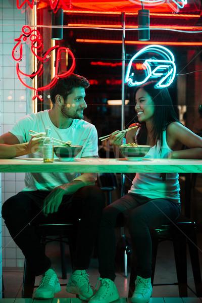 Stockfoto: Vrolijk · liefhebbend · paar · vergadering · cafe