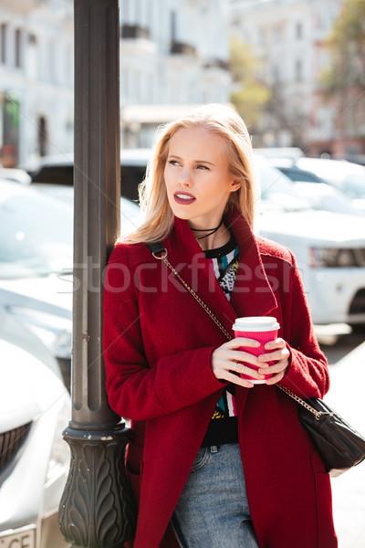 Grave moda jóvenes mujer rubia caminando aire libre Foto stock © deandrobot