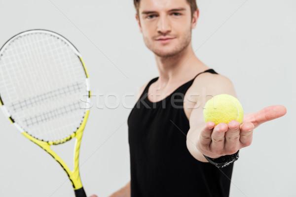 Knap jonge tennisbal racket Stockfoto © deandrobot