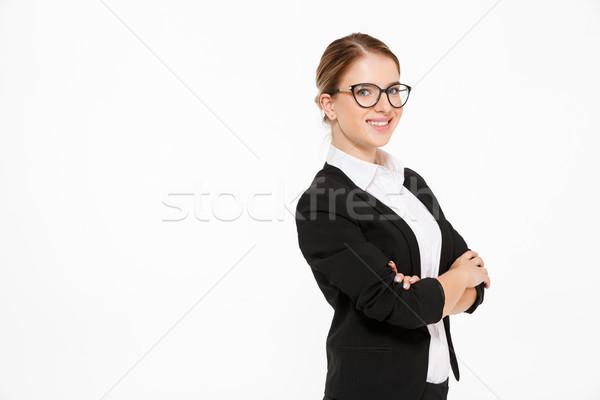 Zdjęcia stock: Widok · z · boku · uśmiechnięty · business · woman · okulary · patrząc