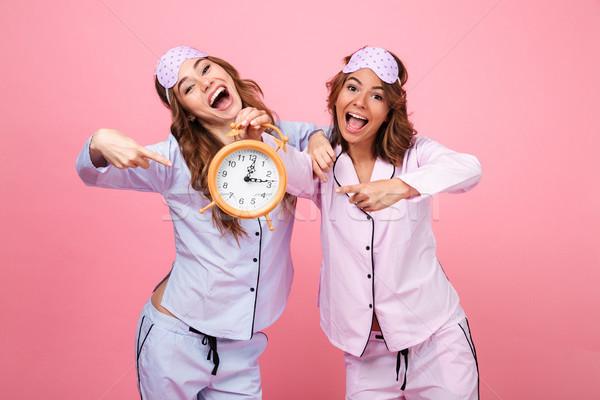 счастливым смешные друзей женщины пижама Сток-фото © deandrobot