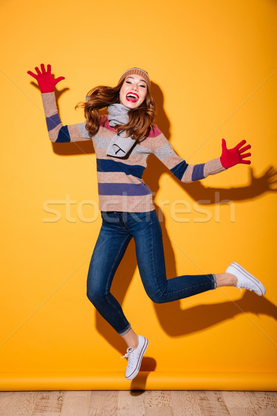 Full length portrait of happy girl Stock photo © deandrobot