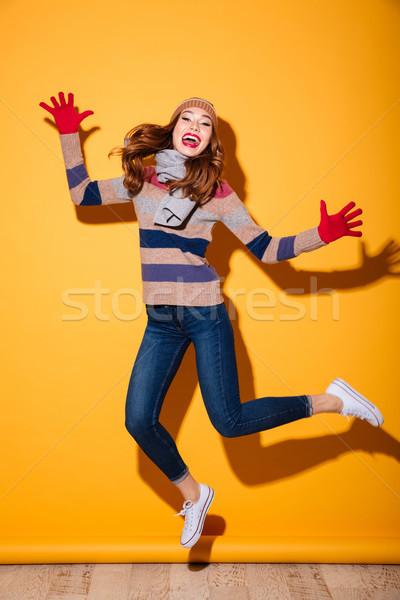 Tam uzunlukta portre mutlu kız kış elbise Stok fotoğraf © deandrobot