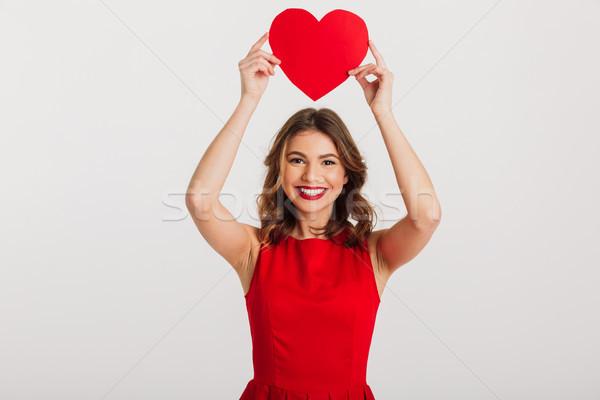 肖像 かなり 若い女性 赤いドレス 紙 ストックフォト © deandrobot