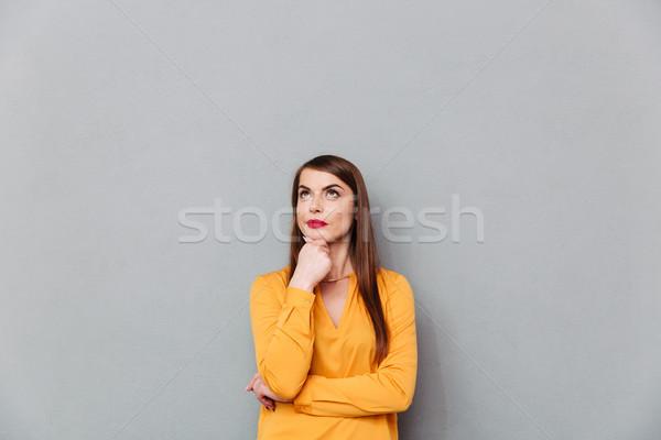 肖像 沈痛 女性 思考 コピースペース ストックフォト © deandrobot
