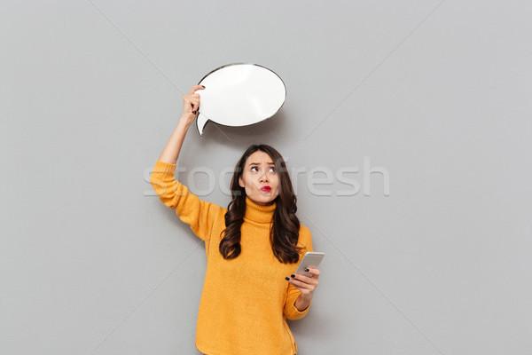 ブルネット 女性 セーター 吹き出し ストックフォト © deandrobot