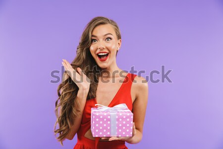 Portrait of a happy girl dressed in dress Stock photo © deandrobot