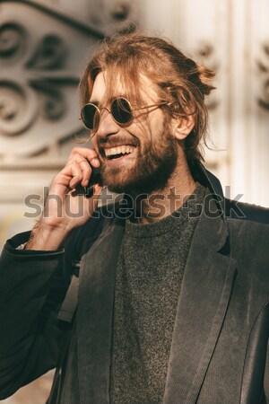 肖像 小さな あごひげを生やした 男 サングラス コート ストックフォト © deandrobot