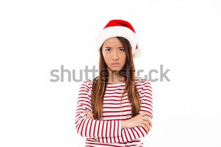 Stock fotó: Portré · zaklatott · ázsiai · lány · karácsony · kalap
