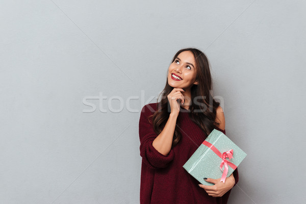 Close-up portrait of pretty smiling woman in stylish knitted swe Stock photo © deandrobot