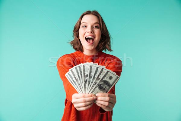 Retrato animado mulher jovem suéter dinheiro Foto stock © deandrobot