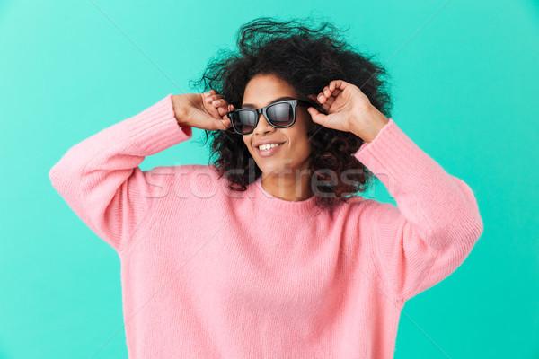 Moda retrato elegante mujer 20s afro Foto stock © deandrobot