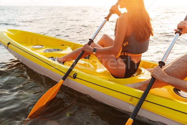 Liefhebbend paar kajakken meer zee boot Stockfoto © deandrobot