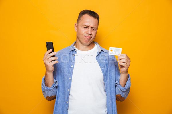 Ritratto sconvolto cellulare carta di credito Foto d'archivio © deandrobot